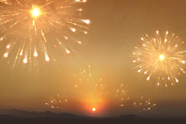 Fajerwerki z niebem słońca