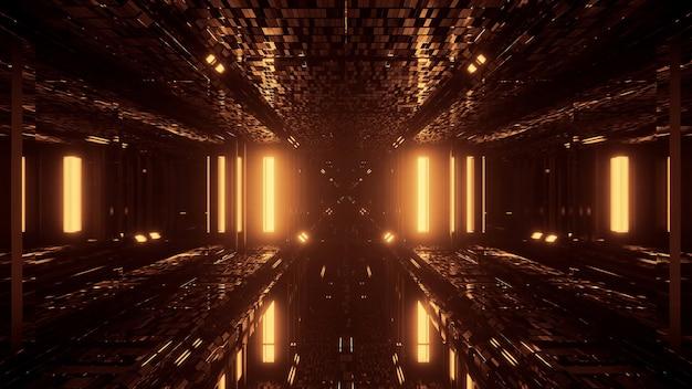 Fajna futurystyczna scena ze złotymi migającymi światłami