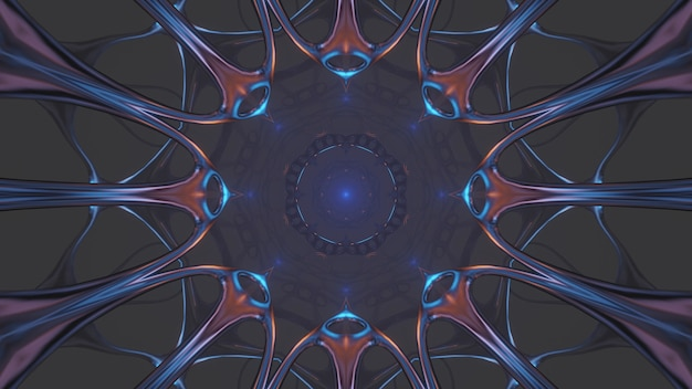 Fajna ilustracja z geometrycznymi kształtami i neonowymi światłami laserowymi