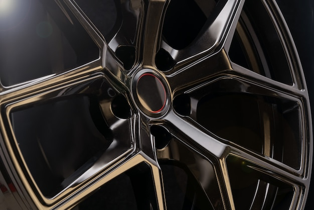 Fajne czarne aluminiowe odlewane koła samochodowe, lekkie kute felgi aluminiowe. fa
