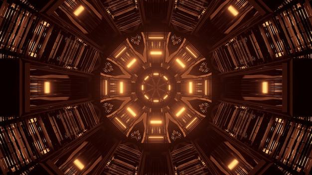 Fajne żółte światła renderowania 3d futurystyczne sci-fi techno - fajna tapeta