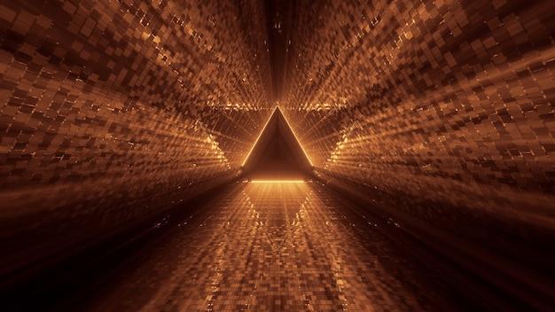 Fajny futurystyczny z błyszczącym złotym trójkątem pośrodku