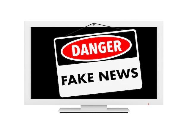 Fake news znak niebezpieczeństwa na ekranie telewizora na białym tle. renderowanie 3d.
