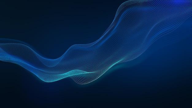 Fala streszczenie technologia tło z niebieskim światłem led. koncepcja sieci korporacyjnej, cyfrowej. renderowania 3d.