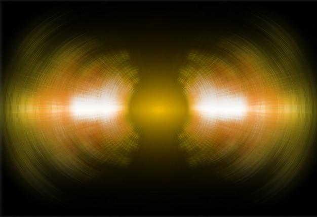 Fale dźwiękowe oscylujące ciemnożółte światło