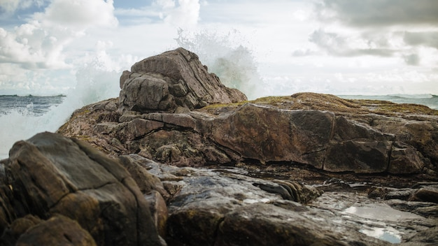 Fale oceanu rozbijające się o skały