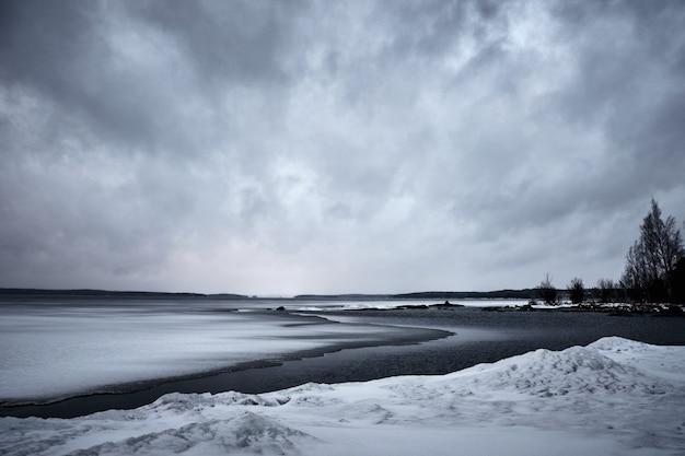 Fale oceanu zbliżają się do brzegu pod ponurym niebem