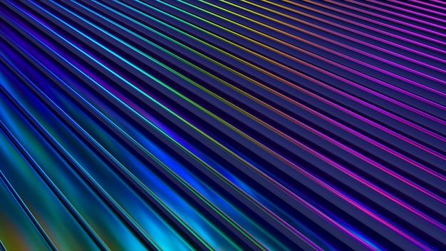 Falista powierzchnia 3d. streszczenie tło macha z neonowymi zmarszczkami.