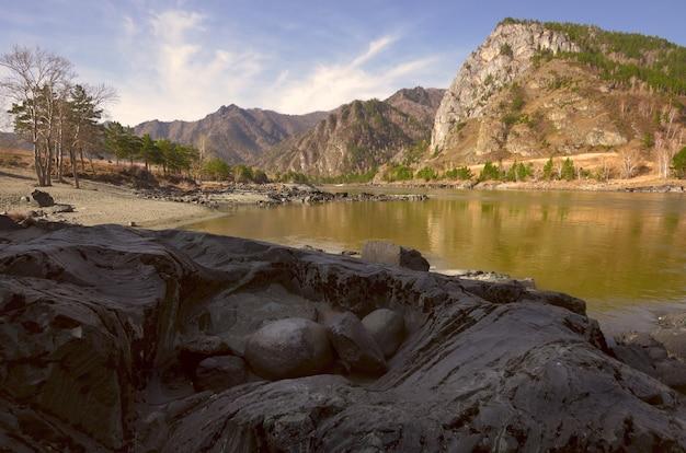 Faliste, warstwowe czarne skały na brzegu górskiej rzeki okrągłe, jajowate kamienie w naturalnym gnieździe