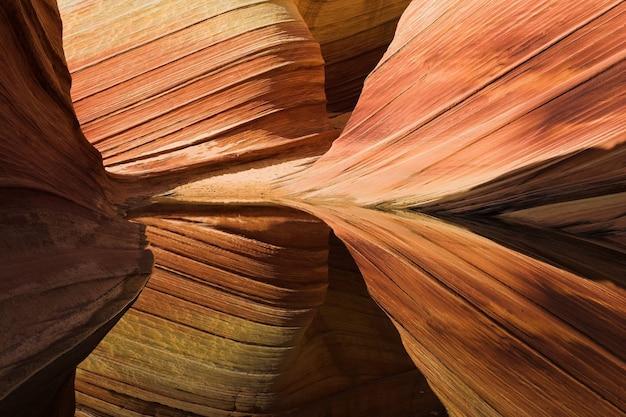 Falowe formacje skalne z piaskowca w arizonie, stany zjednoczone