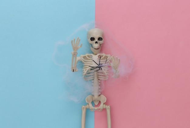 Fałszywy szkielet w pajęczynie na różowym niebieskim pastelu. halloweenowa dekoracja, przerażający motyw