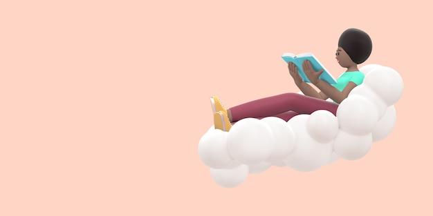 Fan literatury młoda afrykańska dziewczyna na niebie na chmurze czyta książkę. renderowanie 3d.