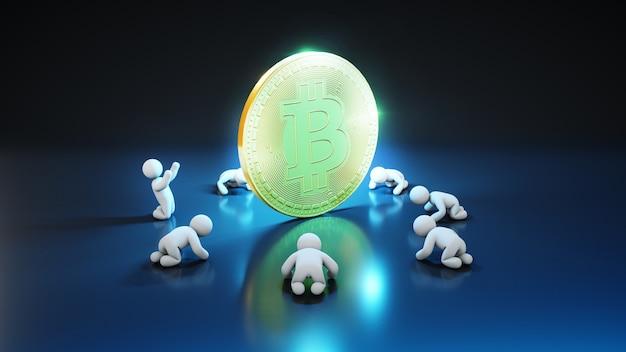Fani bitcoinów - ilustracja 3d