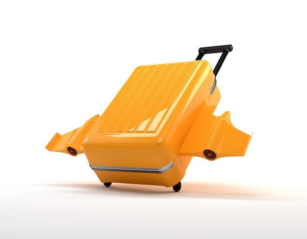 Fantastyczna żółta walizka z kołami, skrzydłami i silnikami.