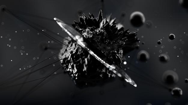 Fantastyczne, abstrakcyjne, czarne, kosmiczne tło. renderowanie 3d.