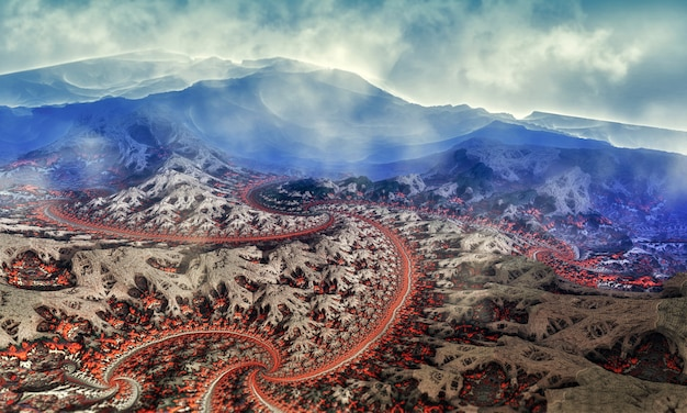 Fantastyczny obraz 3d górskich dróg z chmurami, niebem i mgłą