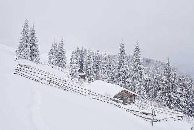 Fantastyczny zimowy krajobraz, schody prowadzące do kabiny.