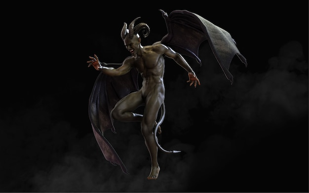 Fantasy 3d ilustracja demona, diabła i ciemnych skrzydeł