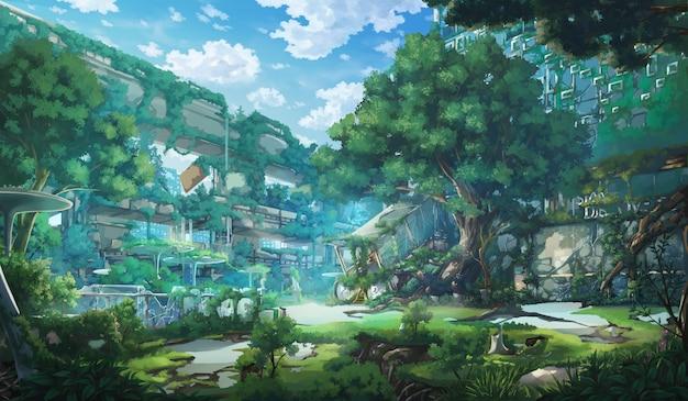 Fantasy opuszczone miasto - dzień.