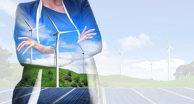 Farma wiatrowa turbiny na bizneswoman