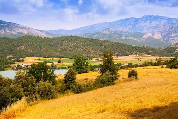Farmy i pola w dolinie