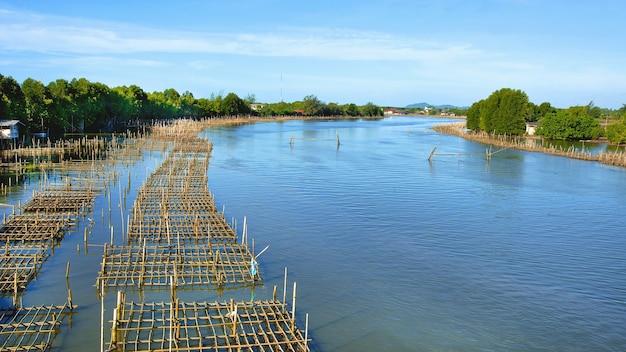 Farmy rybne w chanthaburi w tajlandii.