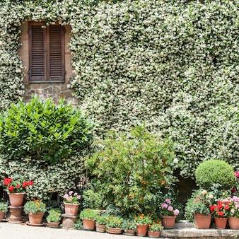 Fasada domu w tradycyjnej toskańskiej wiosce, pienza, włochy