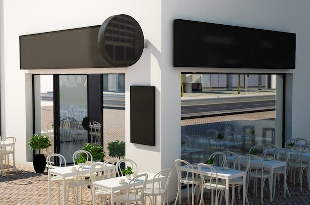 Fasada kawiarni z makiety szyldów