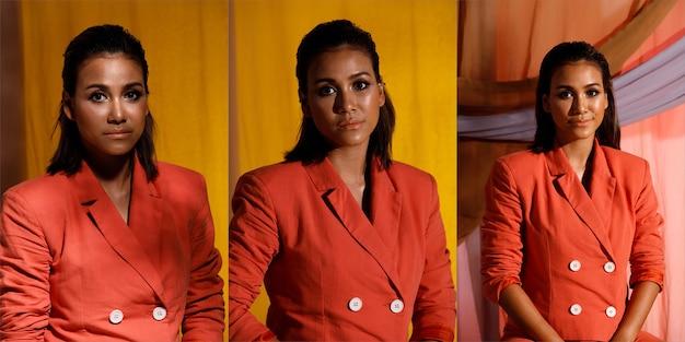 Fashion beauty india kobieta ma krótkie, proste, czarne włosy wyrażające uczucia. portret azjatyckiej dziewczyny nosić czerwony garnitur marynarka w popołudniowym cieniu słońca na tle pastelowych ubrań