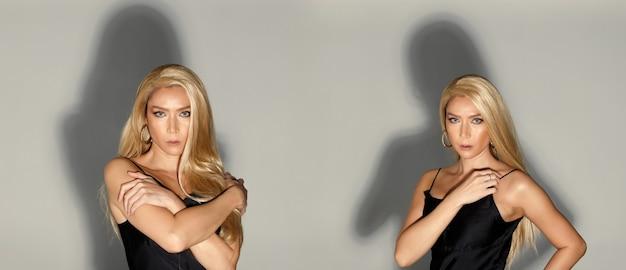 Fashion Beauty Woman Ma Długie Brązowe Włosy, Które Wyrażają Uczucie Emocji. Portret Azjatyckiej Kobiety Transpłciowej Lgbtgia+ Nosi Czarną Sukienkę Na Szarym Tle Kolażu Premium Zdjęcia