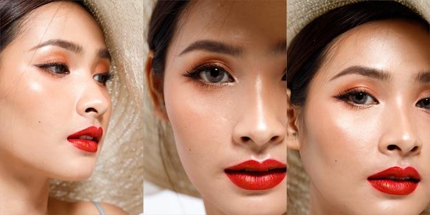 Fashion beauty woman ma długie, proste, czarne włosy, które wyrażają uczucie sexy. bliska portret azjatyckiej dziewczyny pokazuje twarz, oczy, usta z czerwoną szminką do pielęgnacji skóry