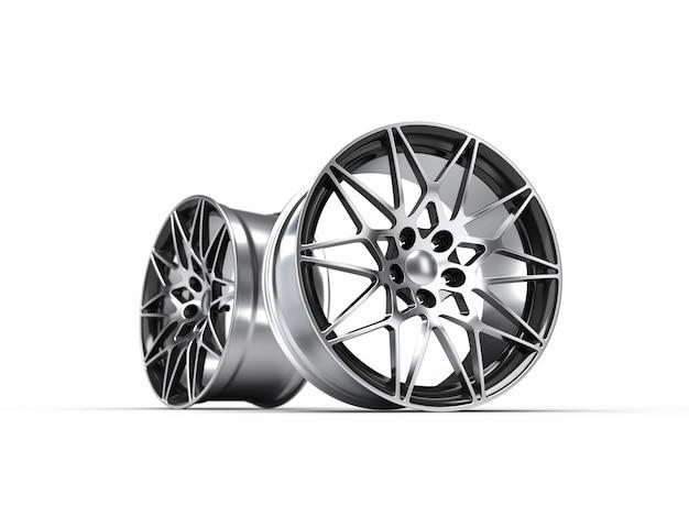 Felgi aluminiowe samochodu, odizolowane. ilustracja renderowania 3d.