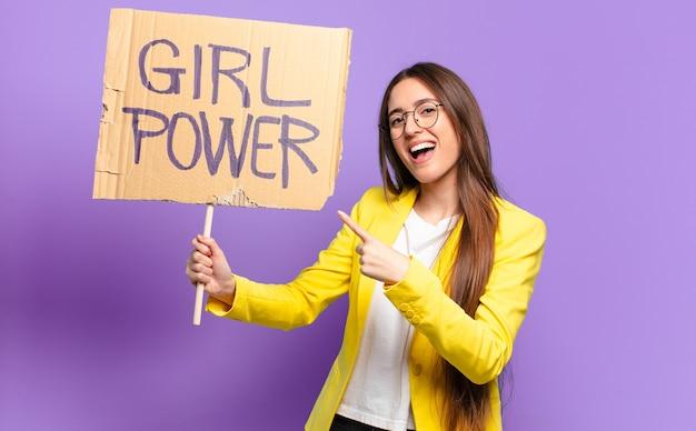 Feministka tty bizneswoman. koncepcja mocy dziewczyny