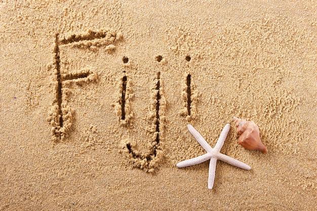 Fidżi odręcznie wiadomość piasku na plaży