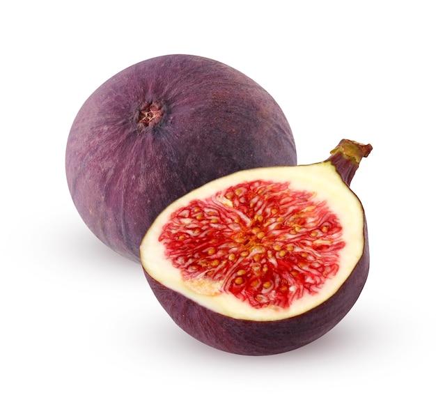 Figi na białym tle. półtora fig na białym tle. fioletowy owoc.