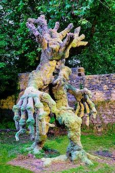 Figura drzewa w kształcie osoby, przedstawiająca zaklętą leśną istotę.