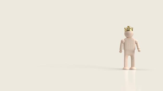 Figurka mężczyzny z drewna zabawki i korony