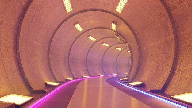 Fikcja tunelu kolejowego we wnętrzu renderowania science fiction, pomarańczowe światło tunelu.