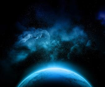 Fikcyjna planeta z kolorowym nocnym niebem, gwiazdami i mgławicą