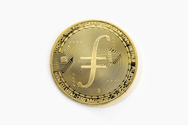Filecoin kryptowaluta moneta na białym tle