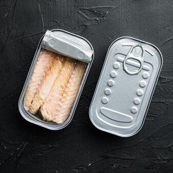 Filet z makreli w puszce, zestaw do przetworów rybnych, w puszce, na czarno