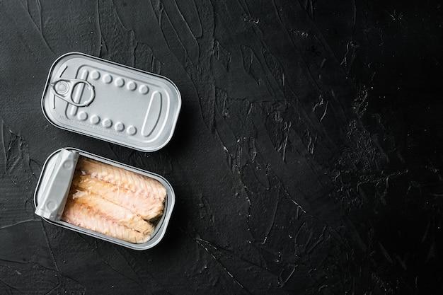 Filety z makreli w puszce w zestawie blaszanym, w puszce, na czarno