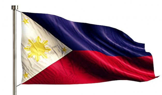 Filipiny flaga narodowa pojedyncze 3d białe tło