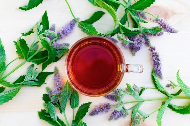 Filiżanka czarnej herbaty ziołowej z gałązką mięty i kwiatów mięty na drewnianym stole