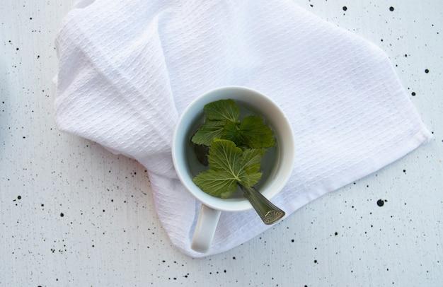 Filiżanka herbaty ziołowej ze świeżymi liśćmi porzeczki i słodkimi krakersami na talerzu na białym tle