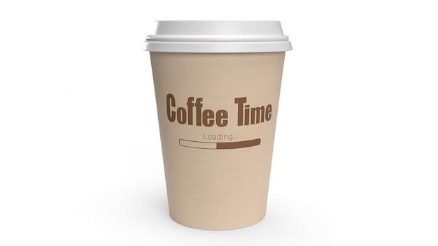 Filiżanka kawy na białym renderingu 3d