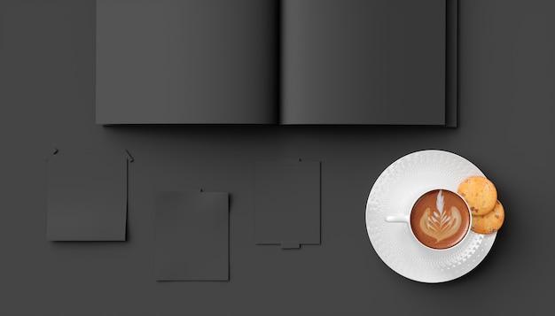 Filiżanka kawy na czarnym tle makro obok notebooka, 3d ilustracji