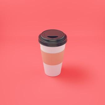 Filiżanka kawy na jasnoczerwonym