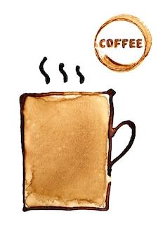 Filiżanka kawy naszkicowana w kawie