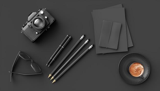 Filiżanka kawy obok aparatu i okulary na czarnym tle, ilustracja 3d